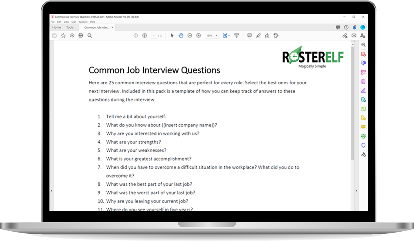 Common job interview questions rosterelf
