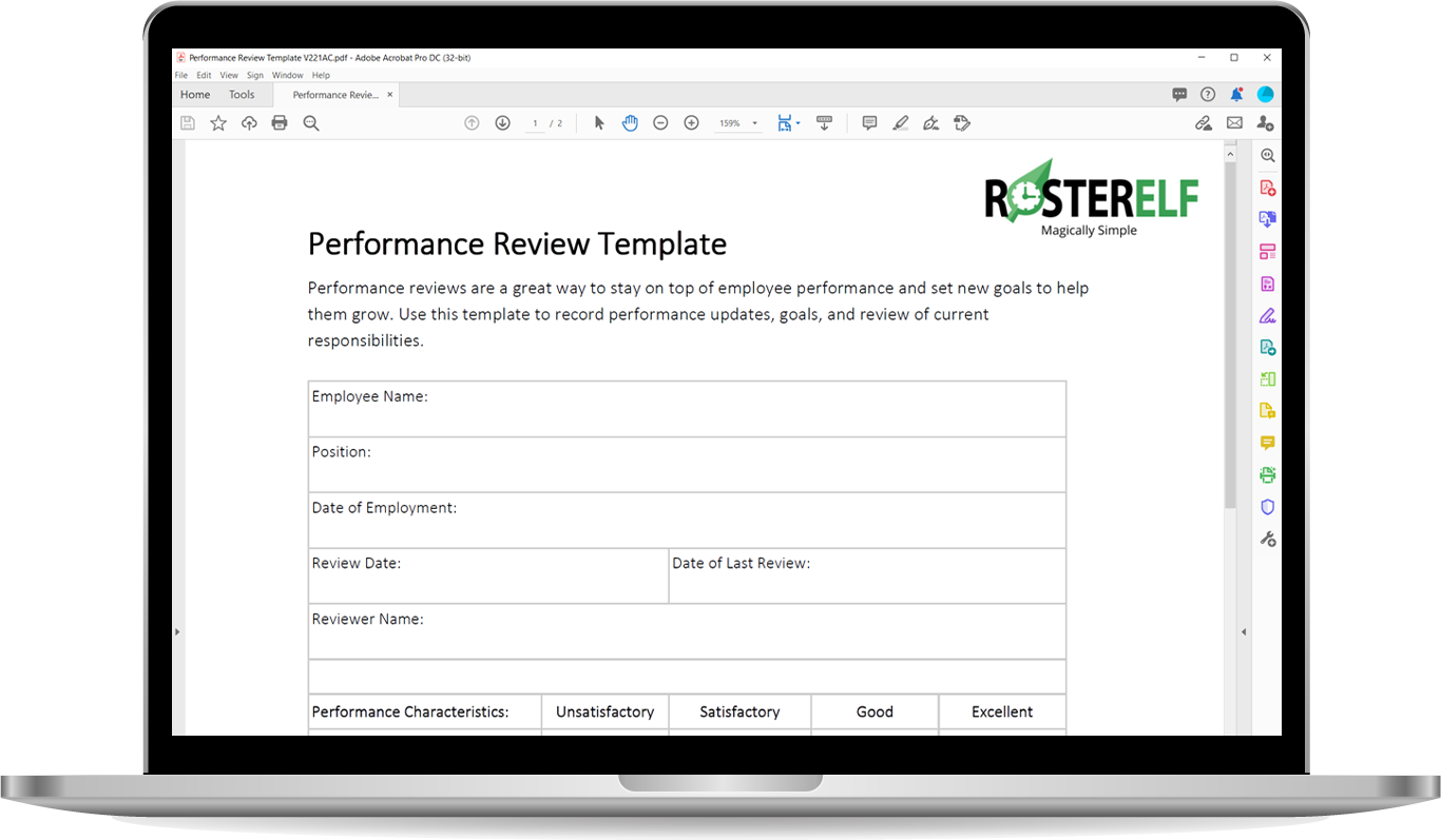 Performance review template rosterelf
