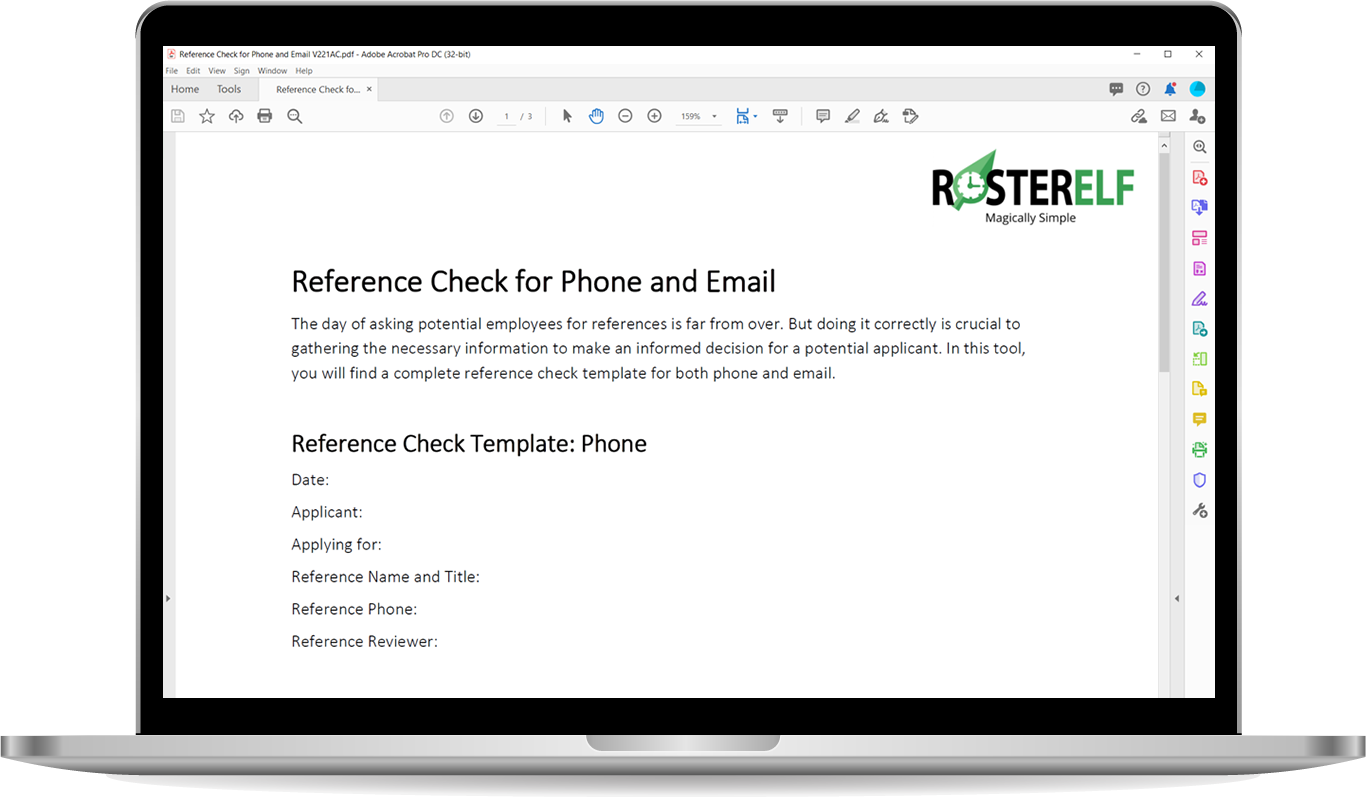 Reference check for phone and email template rosterelf