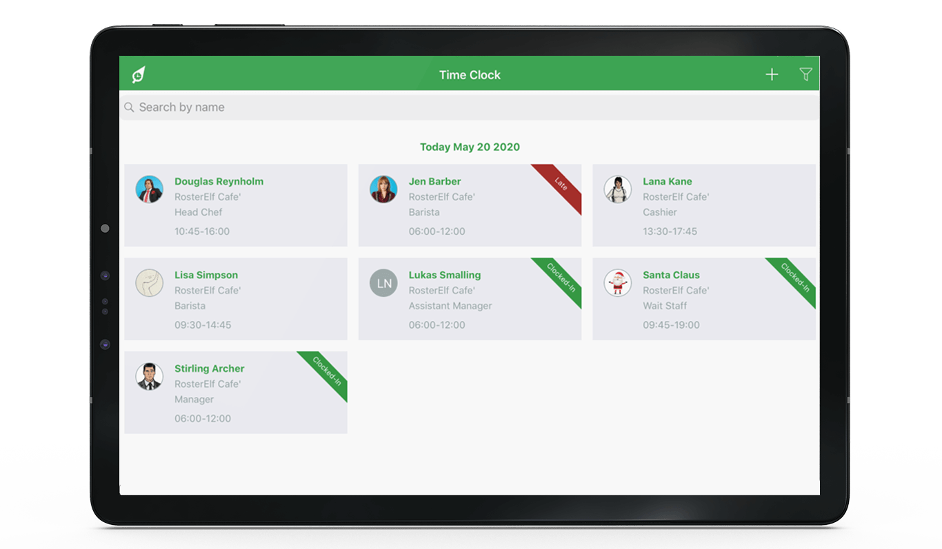 staff attendance check-in on tablet